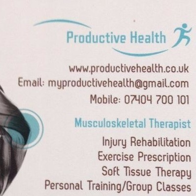 PRODUCTIVE HEALTH - Musculoskeletal Therapist and Exercise Specialist | www.productivehealth.co.uk | @productivehealth